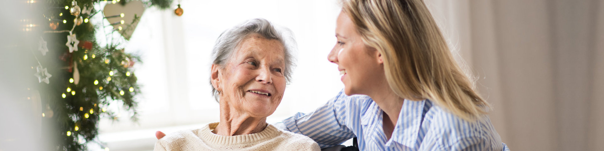 senior woman with a health visitor